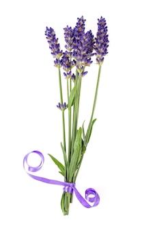 青いラベンダーの花の小さな束。