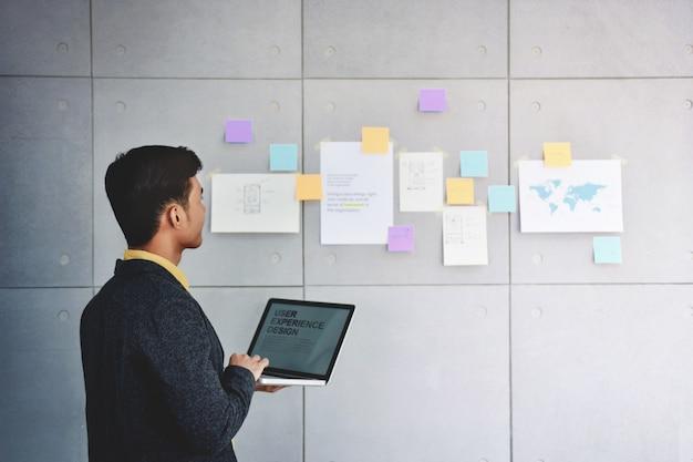 Малый бизнес и концепция стратегии. молодой предприниматель в конференц-зале офиса.