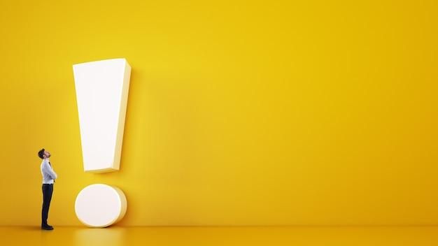 Человек малого бизнеса смотрит на большой белый восклицательный знак на желтом фоне. 3d-рендеринг