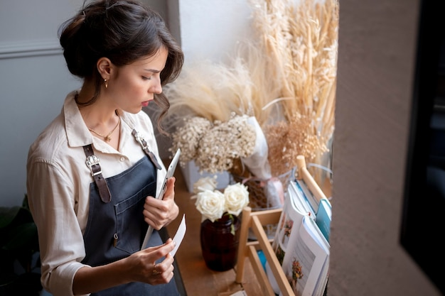 Small business manager in her workshop