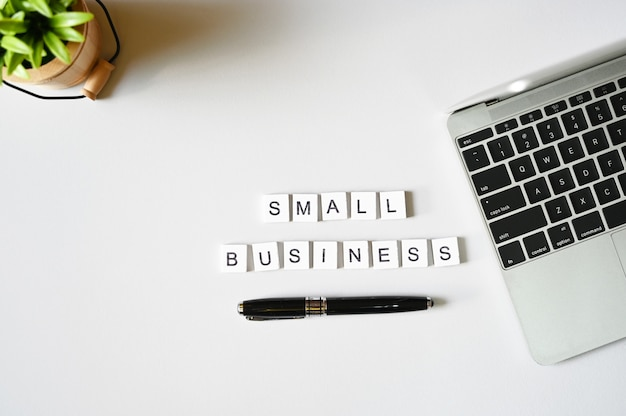 Small business text of business  flat lay minimal style