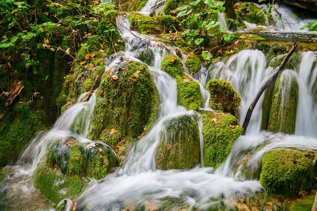 クロアチア、プリトヴィツェ国立公園の滝の小さなカスケード