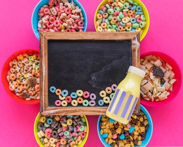Small cereals on old blackboard