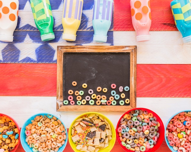Small cereals on old chalkboard