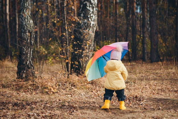A small child in a warm suit and with a colorful umbrella walks in the woods. autumn park. the concept of children's fashion, accessories, outdoor walks