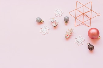 Small Christmas toys on table