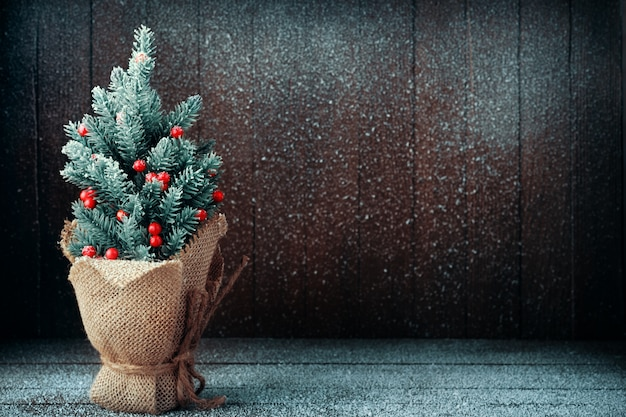 Small christmas tree packed in burlap on dark snowy background