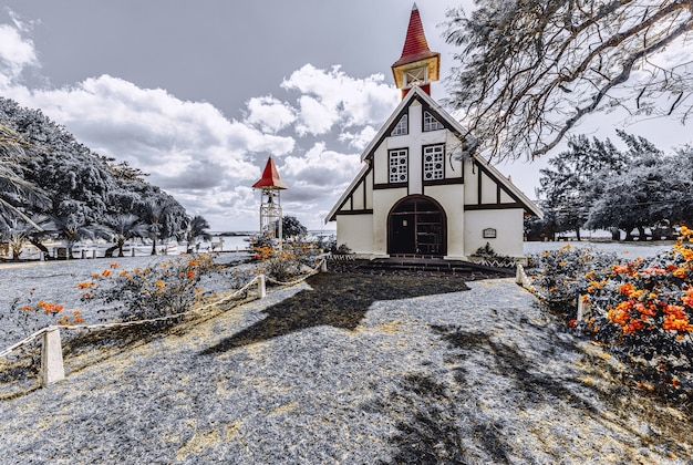 Small church at cap malheureux in mauritius in winter