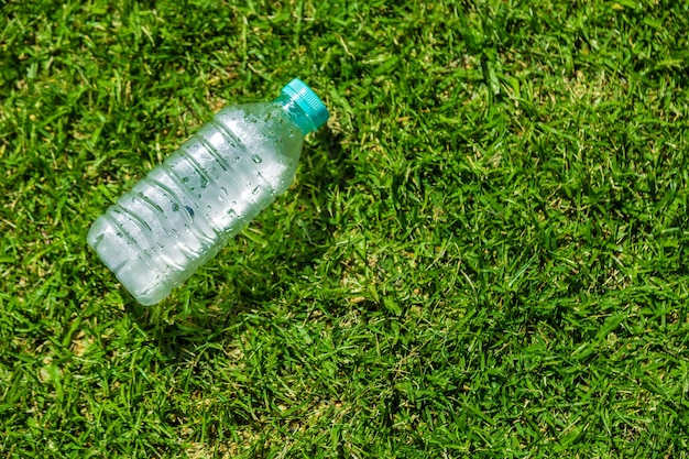 Small cold water bottle laying on green grassy field on a hot sunny day