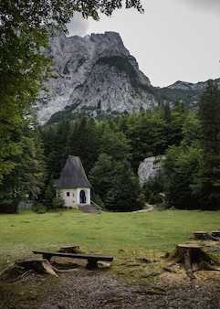 Небольшой коттедж в окружении зеленых деревьев в долине врата, национальный парк триглав