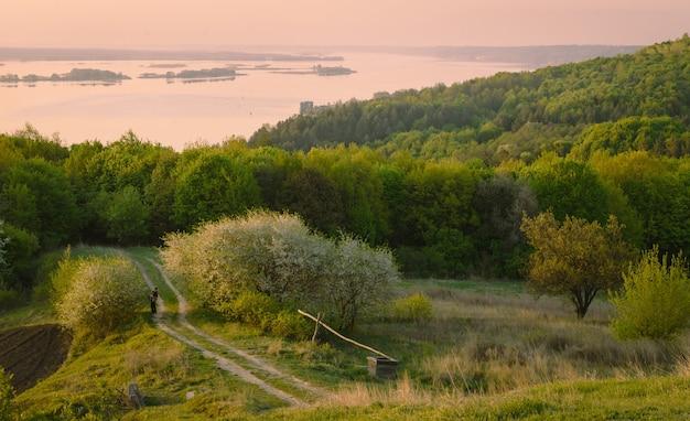 아침에 정원 근처의 작은 시골길. 시골 풍경을 꽃 피우는 방법. 일출, 작은 섬이 있는 넓은 강에서 볼 수 있습니다.