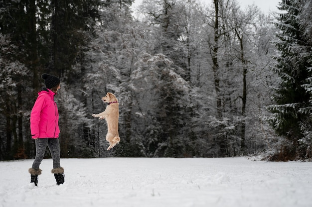 Small cute pet dog jumping towards her owner outside in a snowy nature.