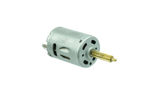 Small dc motor gear on isolated white backgroud
