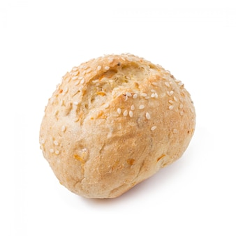 ふすま、白い背景で隔離の小さな食事穀物パン