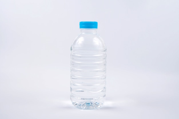 Small driking water bottle on white