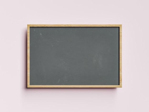 Маленькая пустая доска с деревянной рамкой на пастельных тонах. образование и обратно в школу концепции. 3d рендеринг