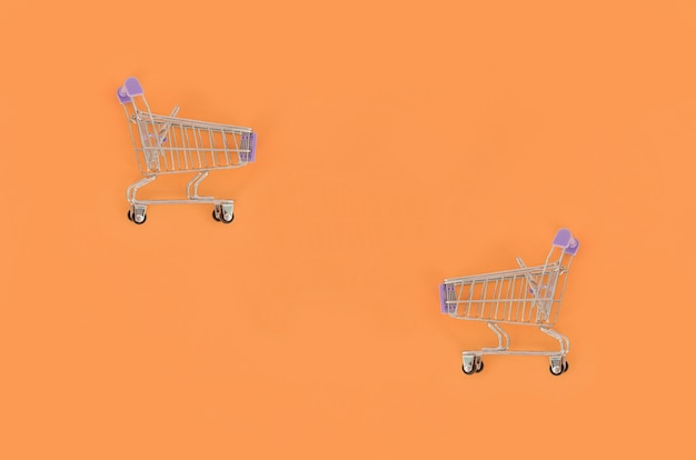 Small empty shopping cart lies on a pastel colored paper