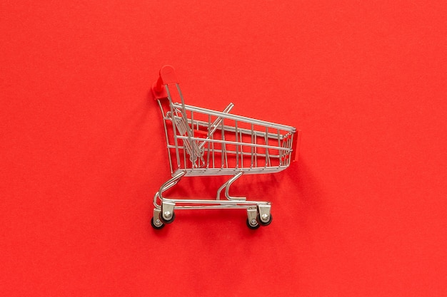 Small empty shopping trolley cart