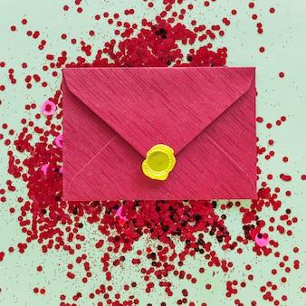 Small envelope on shiny spangles