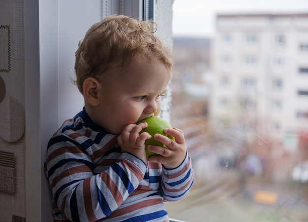 ヨーロッパの小さな男の子が部屋の窓辺に座っている緑のリンゴを食べる