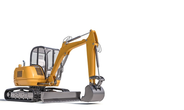 Small excavator on the white surface. 3d render.