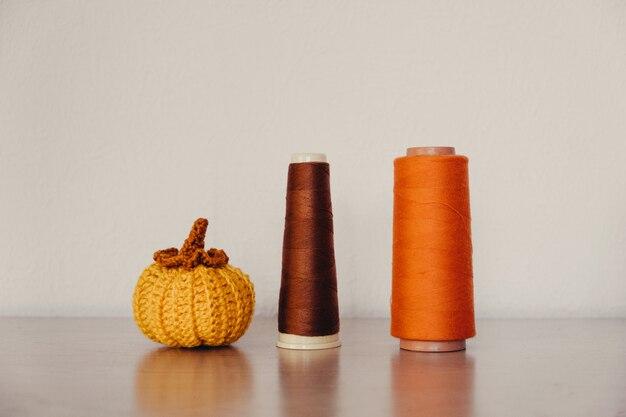 Маленькая ткань вязанная декоративная тыква ручной работы осенний осенний декор стол благодарения и хэллоуина
