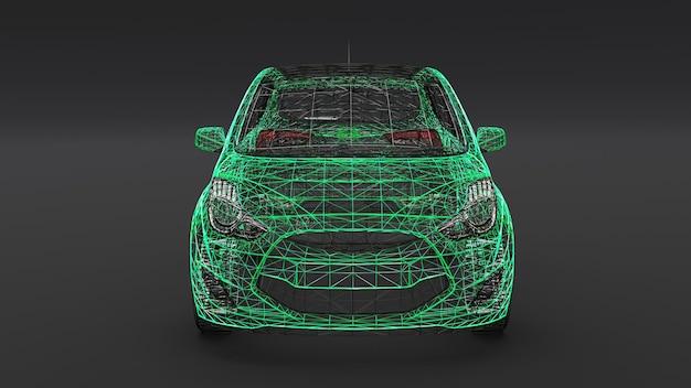 Small family car, mesh design. 3d rendering.