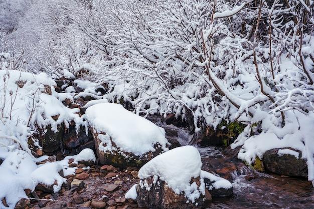 Небольшой быстрый ручей среди маленьких мокрых камней и холодного белого снега в живописных карпатах в прекрасной украине и ее фантастической природе.