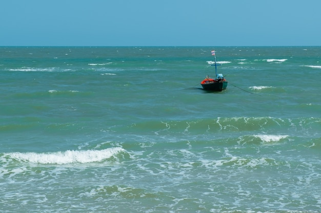 Small fishing boats park in the sea