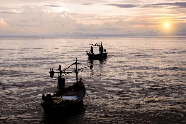 Small fishing boats in the sea hua hin , thailand