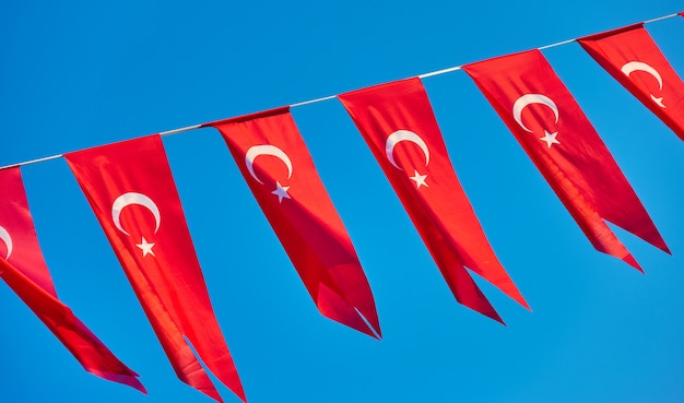 Small flags of turkey - holiday small turkish flags in the wind