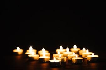 Small flaming candles