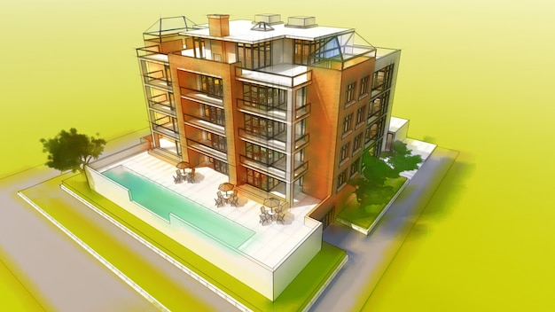 Small functional condominium with its own enclosed area, garage and swimming pool. 3d illustration in hand-drawn style, imitation pencil and watercolor