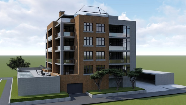 Small functional condominium with its own enclosed area, garage and swimming pool. area with umbrellas for relaxing in warm weather. summer sunny day with small clouds. 3d rendering.