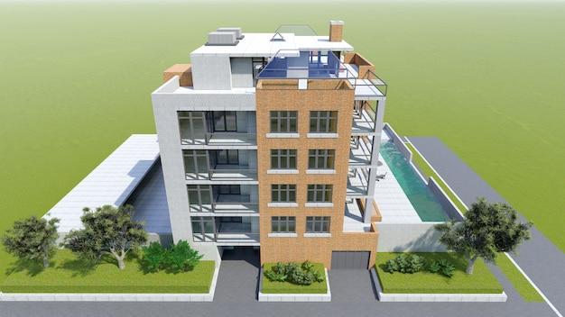 Small functional condominium with its own enclosed area, garage and swimming pool. area with umbrellas for relaxing in warm weather. summer sunny day with small clouds