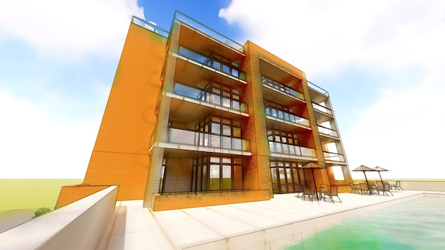 Small functional condominium with its own enclosed area garage and swimming pool