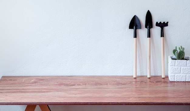 Small garden tools and a white pot of green cactus on wooden table
