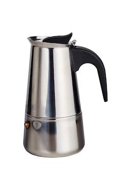白い背景の上の小さな間欠泉コーヒーメーカー。スチール製コーヒーポット。
