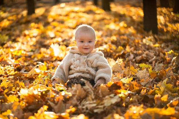 Small girl in a knitted suit is sitting in the forest in yellow leaves.