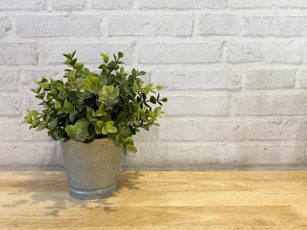 벽돌 벽과 작은 녹색 식물 냄비