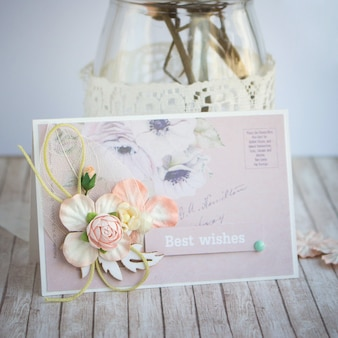 Small greeting handmade card with paper flowers