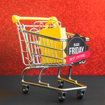 Small grocery cart with black friday best offers inscription