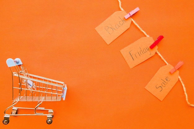 Small grocery cart with black friday sale inscription