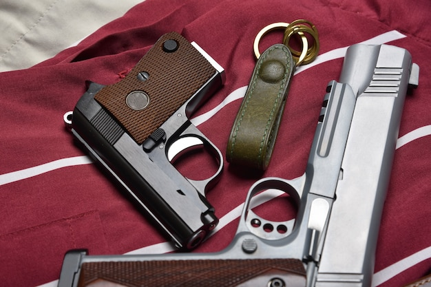 Small gun, .25 caliber automatic handgun, concealed carry pistols for women self defense, weapons and military equipment for army.