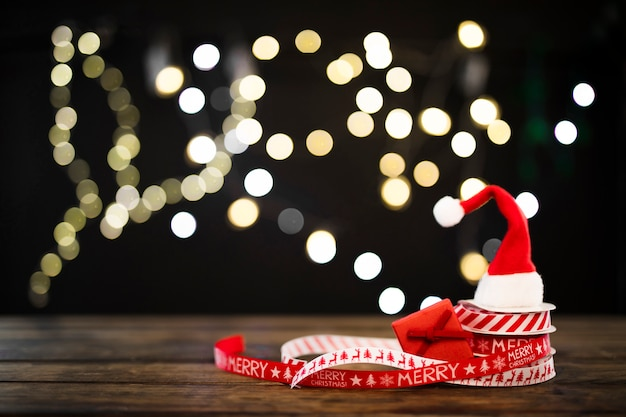 Small hat on christmas ribbons