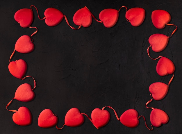 Small hearts forming a rectangle for valentine's day