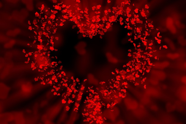 Small hearts make up a big red heart with a slight glow on a black background, illustration