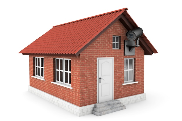 Небольшой дом с камерой наблюдения на белом фоне