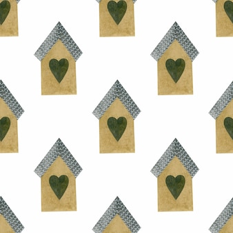Small houses watercolor seamless pattern