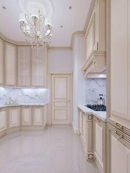 Маленькая кухня в классическом стиле. 3d-рендеринг.